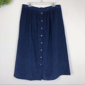 Blue Corduroy Wooden Button Front Skirt L